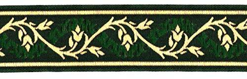 1A-Kurzwaren 10m Mittelalter Borte Webband 35mm breit Farbe: Dunkelgrün-Gold 35094-dgngo