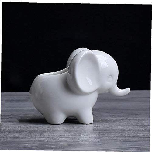 linjunddd Cerámica Blanca Forma Decktop Tiesto Elefante Cubierta suculento de Planter Bonsai Maceta por Home Office Decor Ideal GiftHome y Jardín