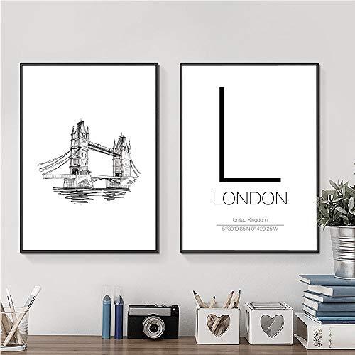 Liangzheng Minimalista Moderno Arte de la Pared Impresión de la Lona Pintura Cartel de London Tower Bridge Línea Dibujo Imagen para la decoración del hogar 50x70cmx2 sin Marco