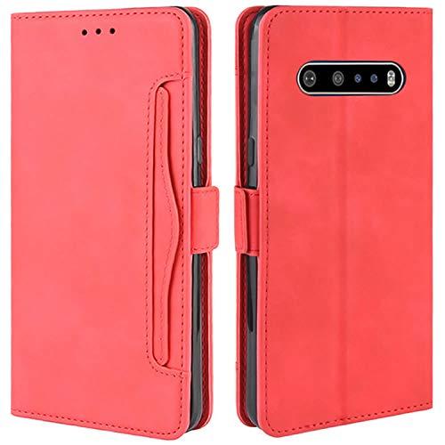HualuBro Handyhülle für LG V60 ThinQ Hülle Leder, Flip Hülle Cover Stoßfest Klapphülle Handytasche Schutzhülle für LG V60 ThinQ 5G Tasche (Rot)