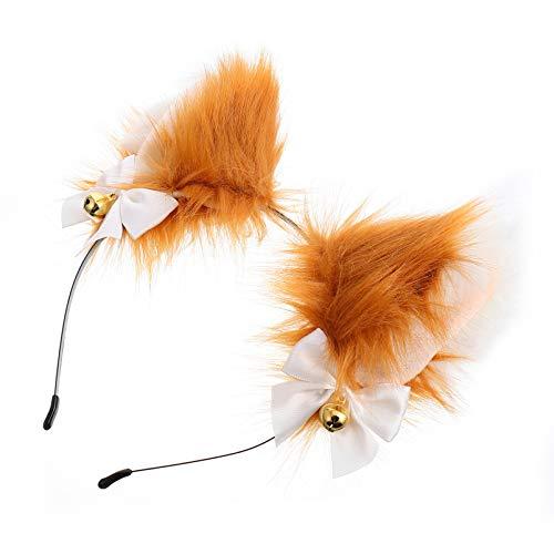 FRCOLOR Diadema con orejas de anime con campanas, lazo, pelo de lobo, oso, gato, perro, diadema, cosplay, accesorio para el pelo, color marrón claro