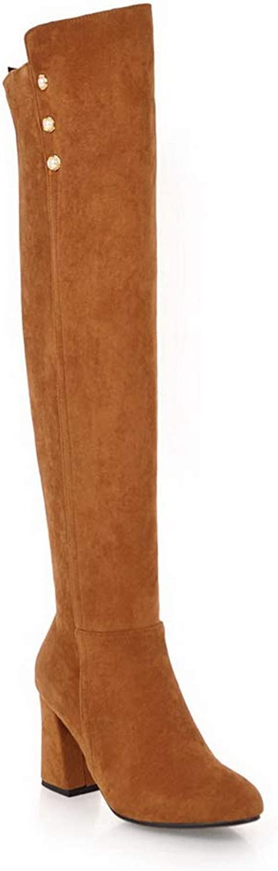 AdeeSu Womens Chunky Heels Bead Imitated Suede Boots SXC03772