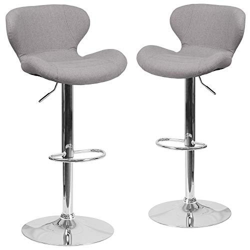 Flash Furniture 2 Pk. Contemporary Gray Fabric Adjustable Height Barstool with Chrome Base