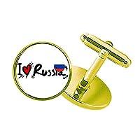 私はロシア語の旗のイラストの愛の愛の心 スタッズビジネスシャツメタルカフリンクスゴールド