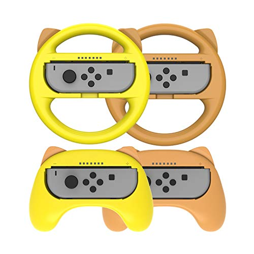 Grip and Switch Volantes para Nintendo Switch Joy-con Controller, Joy-con Hand Grip para Mario Kart Game/Nintendo Switch Accesorios Kits (4 Paquetes De Lujo),Yellow+Brown