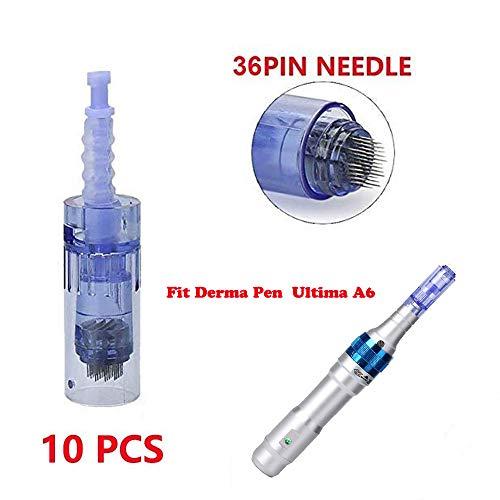 Derma Pen agujas Dr Pen Ultima A6 Dr Pen Needles Dr Pen Derma Pen Profesional Agujas Derma Pen Electrico Derma Pen 12 Pin/36 Pin/42 Pin Micro Agujas Rodillo Acido Hilareco (36 pines,10 PCS)