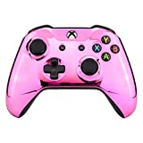 eXtremeRate Gehäuse Obere Hülle Hülle Cover Schale Shell Faceplate Ersatzschale Kit für Xbox One S/Xbox One X Controller-Model 1708(Chrome Rosa)