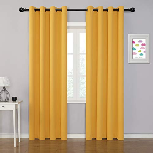 MYSKY HOME Blackout Curtains for Bedroom, Grommet Room Darkening Curtains, Amazing Triple Weave Thermal Insulated Curtains, Set of 1 Curtain Panel ( 52 x 84 Inch, Mustard Yellow )