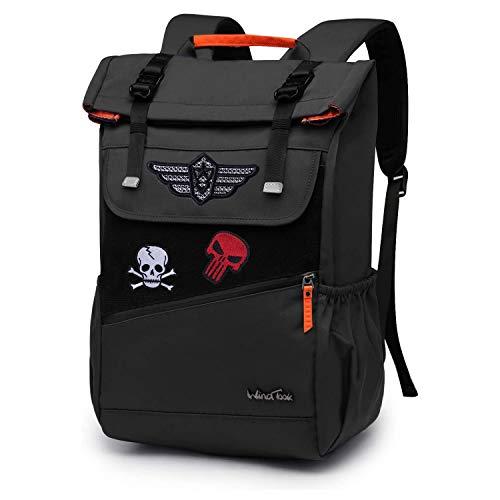 WindTook Rolltop Rucksack Daypack Schulrucksack Fahrradrucksack für 15,6 Laptop, Uni Büro Alltag Herren Damen, Schwarz und Patch Set, Geschenk