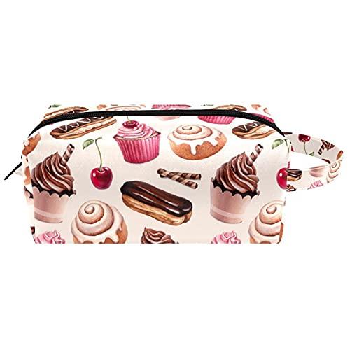 Draagbare cosmetische tas voor vrouwen,Waterdichte ruime make-up zakken,Chocolade Cake kaneel broodje, Reizen Waterdichte toilettas Accessoires Organizer