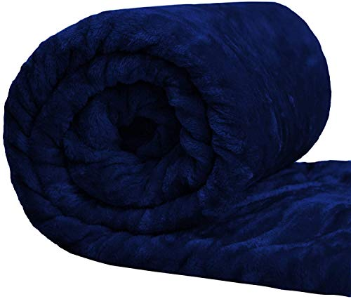 Emines Manta de forro polar cálida y mullida sobre suave manta de lujo para sofá cama, manta de piel sintética de visón, manta de forro polar para cama (azul, doble: 150 cm x 200 cm)
