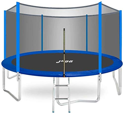 JUPA Capacity 375LBS Kids Trampoline 15FT 14FT 12FT 10FT 8FT, Safe Outdoor Trampoline with Enclosure Net Jumping Mat Safety Pad, Heavy Duty Round Trampoline for Backyard
