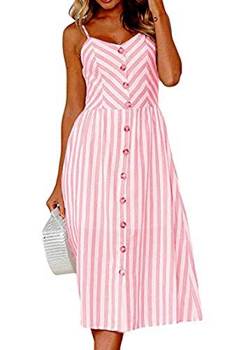 OMZIN Vestido de verano para mujer, sin mangas, sin mangas, muchos colores, tallas grandes XS-XXL 0895 Rosa S