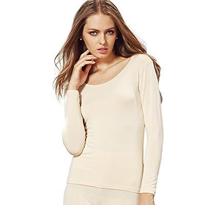 Liang Rou Women's Crew Neck Long Sleeve Ultrathin Modal Thermal Underwear Shirt/Top Apricot Medium