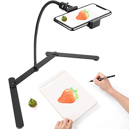 Photo Copy Pico Projector Stand,Chromlives Overhead Tripod Video Stand for Phone,Adjustable Tabletop Overhead Phone Mount,Gooseneck Mini Tripod Stand for Teaching Streaming Baking Crafting