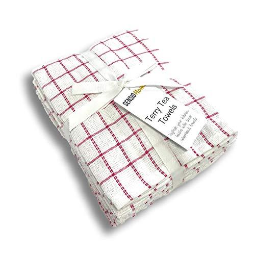 SENSIOHOME Toallas de té 100% Naturales de algodón Terry, Lint & Streak Gratis, Paquete de Cocina Suave 5, Grande 45 x 65 cm, Máquina de Trabajo Pesado Lavable - Rojo