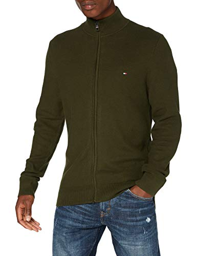 Tommy Hilfiger Honeycomb Zip Through Sweater, Camo Green, S Homme