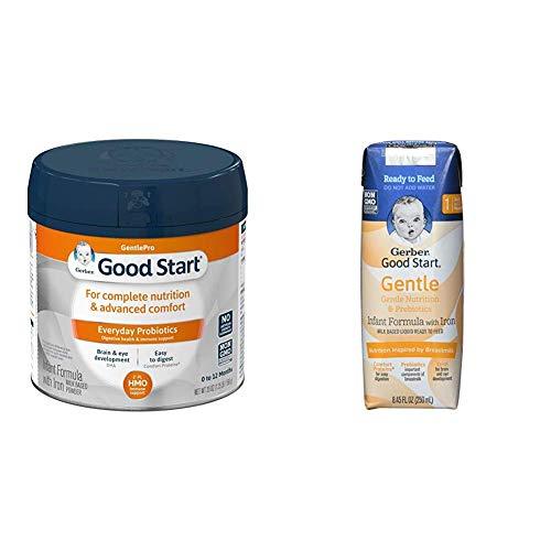 Gerber Good Start Gentle (HMO) Powder Infant Formula, Stage 1 (Pack of 6) & Gerber Good Start Gentle Ready to Feed Infant Formula Stage 1 (Pack of 24)