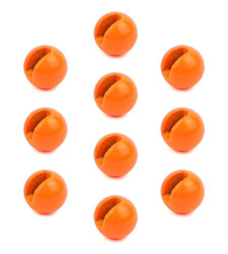 Major Fish Slotted Tungsten Beads Perlen Geschlitzt 10 Stück Fluo Orange 3mm - 0,2 Gramm