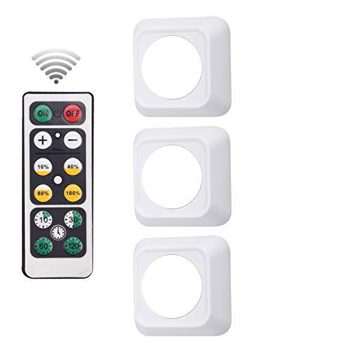 SZMYLED Luz táctil con pilas – LED para gabinete, lámpara de enfermería, dormitorio, armario, luces LED de noche para cocina, escaleras, barra cuadrada 3 luces + 1 mando a distancia