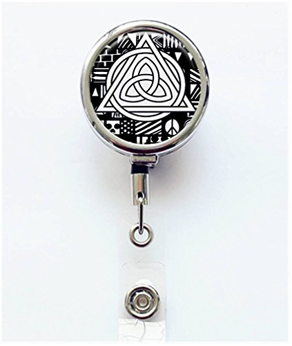 RhyNSky Celtic Knot Triquetra Retractable Badge Holder Reel Clip with Alligator Clip for Name Tag ID Card Keys, Silvery, C137