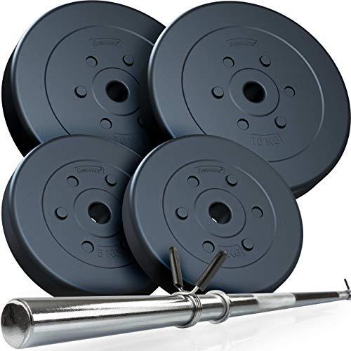 ScSPORTS® 39 kg Hantelset mit Langhantel und 4 Hantelscheiben aus Kunststoff - Langhantel-Set mit Schnellverschluss, bodenschonend & geräuscharm