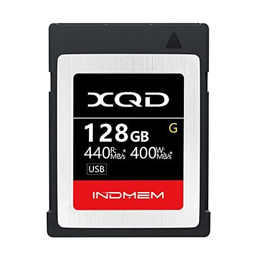 INDMEM 128GB XQD Card 5X Tough MLC XQD Flash Memory Card High Speed G Series (Read 440MB/s and Write 400MB/s)