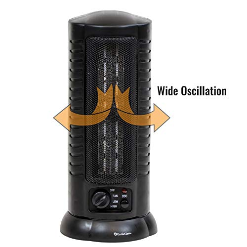 Comfort Zone Ceramic Heater/Tower Oscillating Heater - Electric, Portable with 80 Degrees Wide Oscillation, Tip Over Safety Switch, 3 Heat Settings for Convenience, 1500 Watt (Black) Heater Oscillating Space