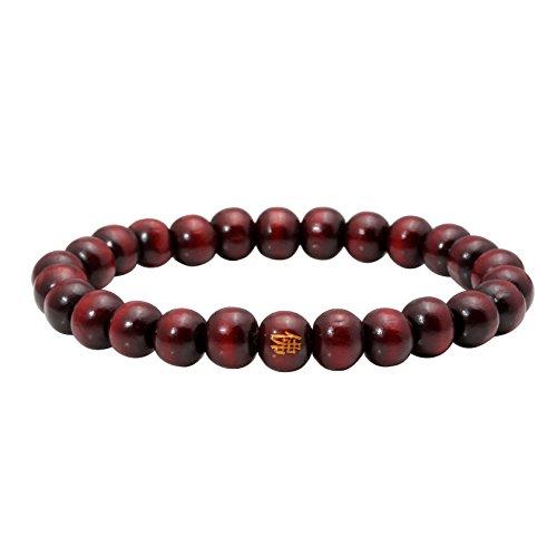 MILAKOO 8mm Perlen Tibetisch Buddhistischer Buddha Gebet Mala Holzperlen Armband Armreif