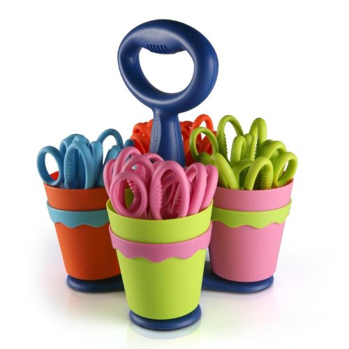 """Scissor Caddy with 24 Pieces 5"""" Kids Pointed Scissors with Anti-Microbial (#14755)"""