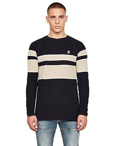 [G-Star RAW ジースターロゥ] ニット セーター コットン ポリアクリル メンズ 長袖 クルーネック 黒 白 Raglan Block Stripe Knitted Sweater