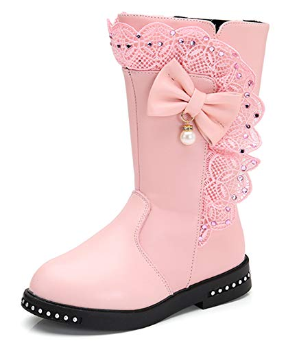 DADAWEN Girl's Waterproof Lace Bowknot Side Zipper Fur Lined Tall Winter Boots (Toddler/Little Kid/Big Kid) Pink US Size 9.5 M Toddler