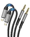 2Pack Cables AUX automático para iPhone [MFi Certified] Cable de audio auxiliar Lightning a audio de 3,5 mm para iPhone 12/11/7/8/ 8P/X/XR, para radios de coche, altavoces, auriculares Gris Negro-1M