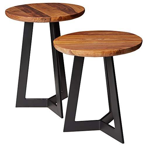 FineBuy Beistelltisch-Set FB52705 Sheesham Satztisch Holz Metall Couchtische | Industrial Stil Echtholz Hocker Wohnzimmer | Holztische Sofatische Metallbeine | Anstelltische 2-teilig Dekotische