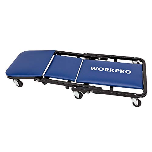 WORKPRO Multi-Function Creeper, Foldable Steel Rail Construction, 36-Inch w/6 Wheels, Converts Into Stool, (1 Pack)