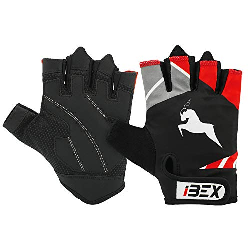 iBEX Padded Weight Lifting Gloves Exercise Gloves Workout Gloves Weight Training Gloves Lifting Weights Cycling Gloves Bike Gloves Biking Half Finger MTB Gloves Rowing Gloves