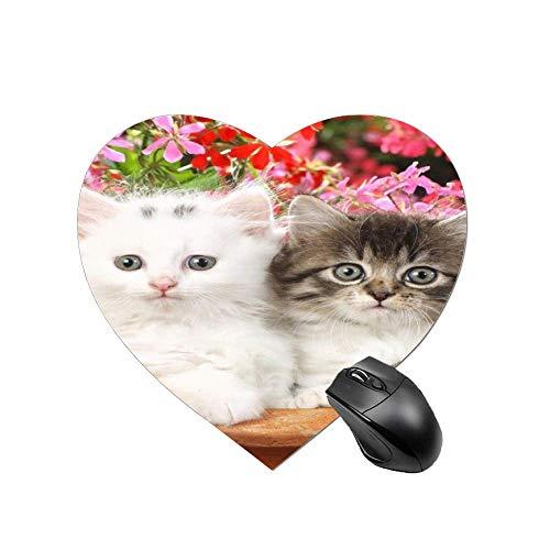 Tappetino per mouse da giocoSimpatico gatto grigio e gatto biancoTappetino per mouse rotondo da 1 pezzo per desktop e laptop