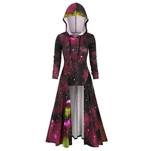 WOZOW Déguisement Costume Halloween Cravate à Capuche en Spirale Manches Longues Grande Taille Et Haute pour Femmes Cape Capuchon(du Vin,XL)