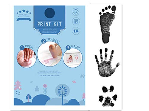 JAJADO Extra Large Clean Touch Inkless Baby Footprint Kit Handprint Ink Pad, Non-Toxic Hand and Foot Stamp with 4 Imprint Cards for Pet Paw Newborn Infant Toddler Keepsake(Black)