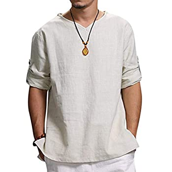 Men s Summer T-Shirt Cotton Linen Hippie Shirts V-Neck Beach Yoga Tee Top Blouse  XL White