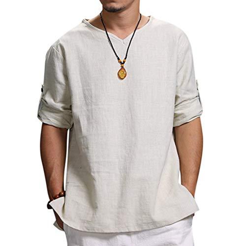 Overdose Camisetas Hombres Blusa De Lino De Color Puro De Verano Nuevo para Hombre Blusa De Moda Cómoda Elegante Tallas Grandes para Bodas Oferta Informal Italianas Ibicenca
