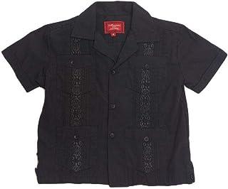 G-Style USA Boys Junior Guayabera Cuban Short Sleeve Embroidered 4 Pocket Shirt