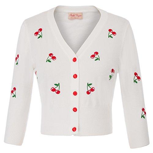 Belle Poque weiß Bolero hülsen Bolero Damen Schulterjacke Elegante Bolero Shrug L BP609-2