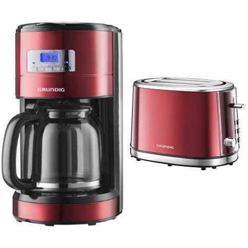 Grundig KM 6330 Kaffeemaschine Red Sense (1,8 l, Digitaluhr, programmierbare Startzeit) metallic rot & TA 6330 Toaster Red Sense