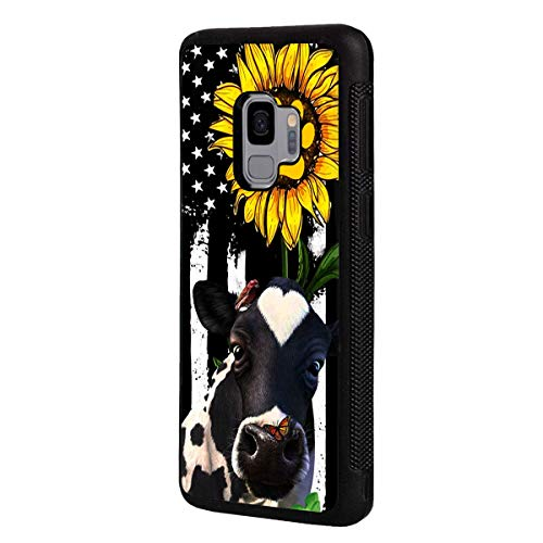 Galaxy S9 (2018) Case, Slim Anti-Scratch Shockproof Rubber Protective Cover for Samsung Galaxy S9 (2018),American Flag Sunflower and Cow