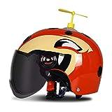 HNLong Caschi per Bambini Caschi da Moto per Uomo e Donna, Protezione Solare Estiva - Orange Red Dragonfly Tea_52-57cm