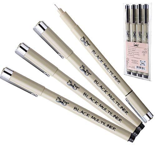 Mr. Pen- Black Fineliners, Fine Point Pens, 0.25mm, 4 Pack, Bible Pens No Bleed, Fine Tip Pens, Ultra Fine Point Pens, Black Fineliner Pens, Black Fine Point Pens, Black Art Pens, Fineliner Pen Black