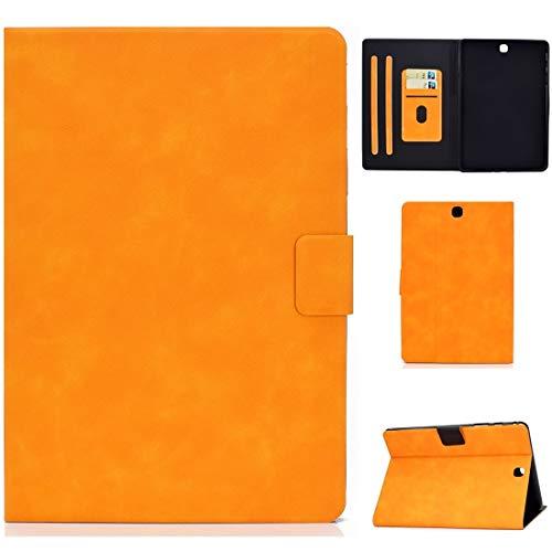 BZN - Funda de piel con tapa horizontal para Samsung Galaxy Tab A 9.7 T550/T555C con textura de piel de vacuno con soporte y ranuras para tarjetas y función de reposo/despertador