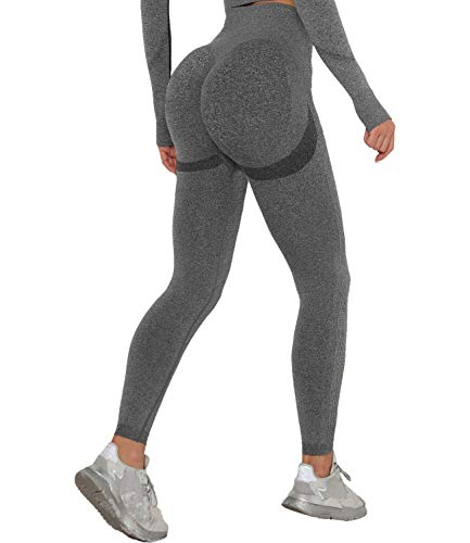 COMFREE Seamless Scrunch Butt Lifting Sportleggings Compression Tights Gym Leggings Push Up High Waist Yoga Sport Workout Fitness Leggings Schwarz L
