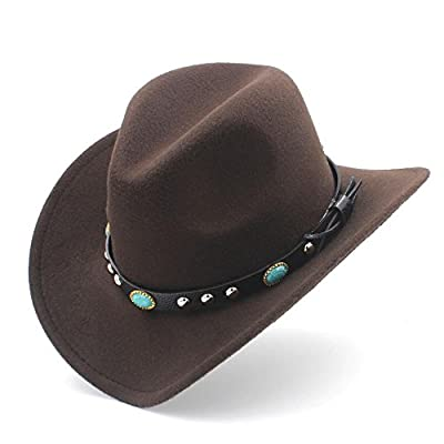 MUMUWU Women's Western Cowboy Hat with Roll Up Brim Felt Cowgirl Sombrero Caps (Color : Coffee, Size : 56-58CM)